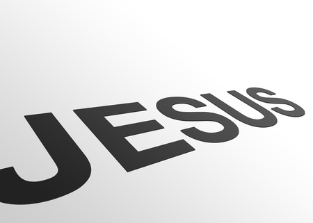 High resolution perspective graphic of the word Jesus.