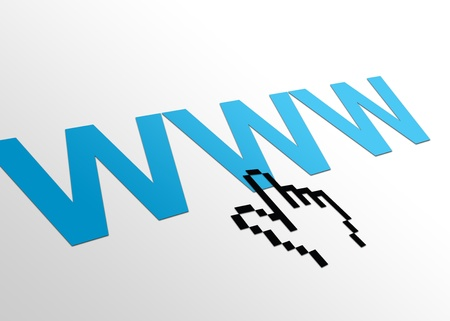 site: High resolution perspective graphic of a www sign with hand cursor. Stock Photo