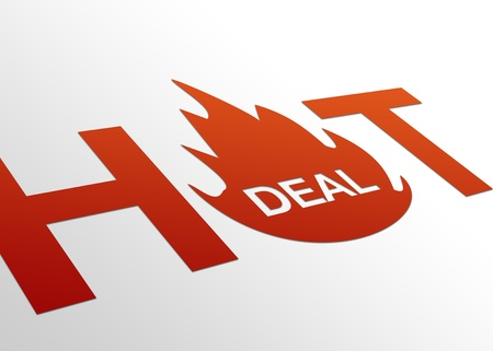hot deal: High resolution perspective graphic of a hot deal sign. Stock Photo