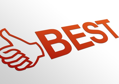 High resolution perspective graphic of a best sign with a hand giving thumbs up. Stock Photo - 8715110