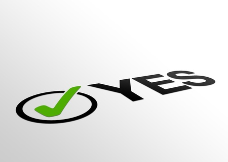 confirmed: High resolution perspective graphic of the word yes plus checkmark.