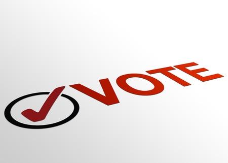 vote: High resolution perspective graphic of vote plus checkmark. Stock Photo