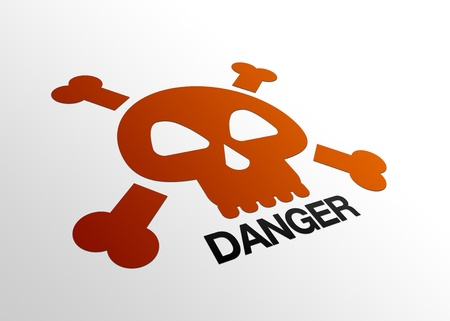 High resolution perspective graphic of a danger sign with skull. Banco de Imagens