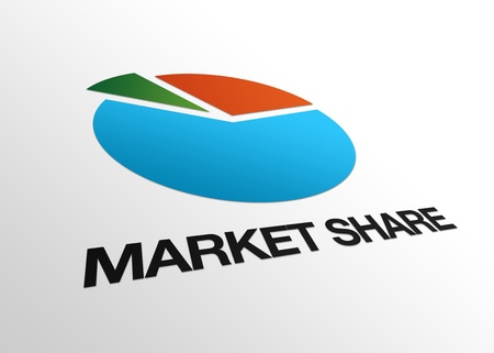 High resolution perspective graphic of a business pie and the word market share. Stock Photo - 8715121
