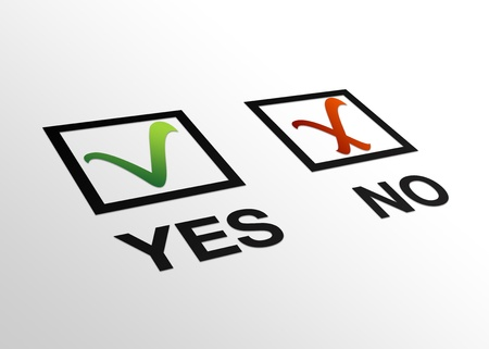 confirmed: High resolution perspective graphic yes and no sign with checkmarks. Stock Photo