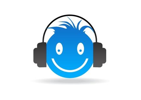 Afbeelding met hoge resolutie blauwe smiley met kop telefoon. Stockfoto