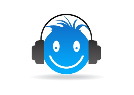 blue button: High resolution blue smiley graphic with headphones.