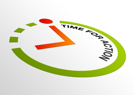 High resolution perspective graphic of a clock with words time for action. Stock Photo