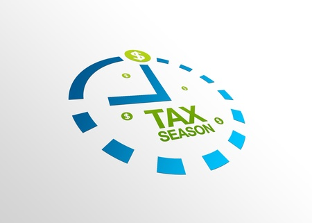 refund: High resolution perspective graphic of a clock with words tax season.