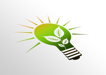 welfare plant: High resolution perspective graphic of a glowing eco light bulb with leaves. Stock Photo