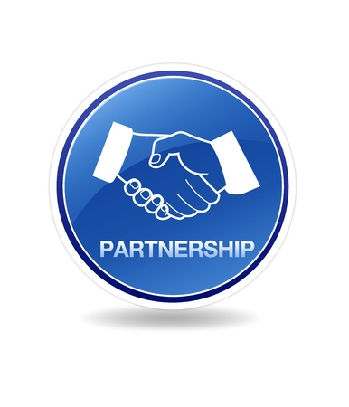 High resolution graphic of a partnership icon with shaking hands.