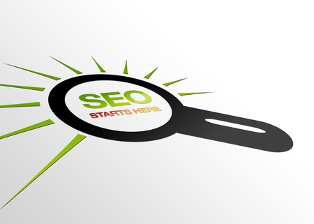 optimized: High resolution perspective graphic of a Magnifying Glass with the words SEO starts here Stock Photo