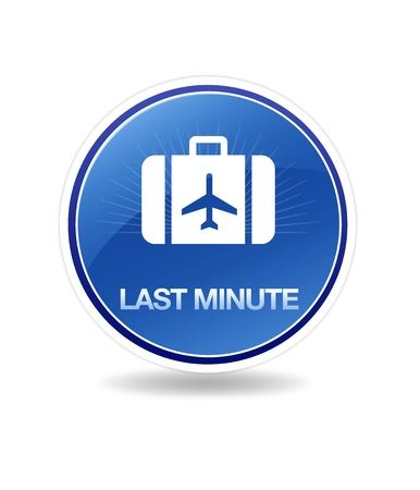High resolution graphic of a last minute icon with suitecase. Stock Photo