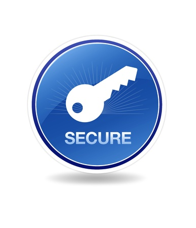 High resolution graphic of a secure icon with a key. Stock Photo - 8773508