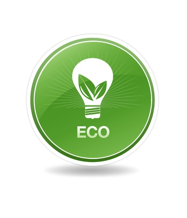 High resolution eco icon with a lightbulb. photo