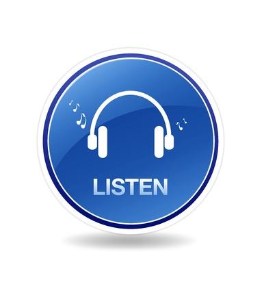 Hoge resolutie afbeelding van een icoon luisteren met hoofd telefoons en notities.