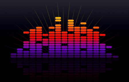 High resolution colorful digital music equalizer with reflection on black background.