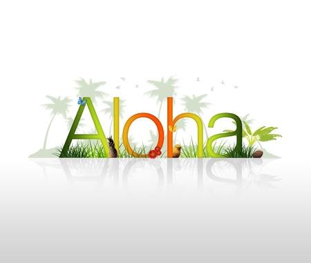 hawai: Gr�fico alta resoluci�n de la palabra Aloha con elementos tropicales.