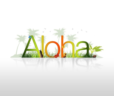 kauai: High Resolution graphic of the word Aloha with tropical elements.