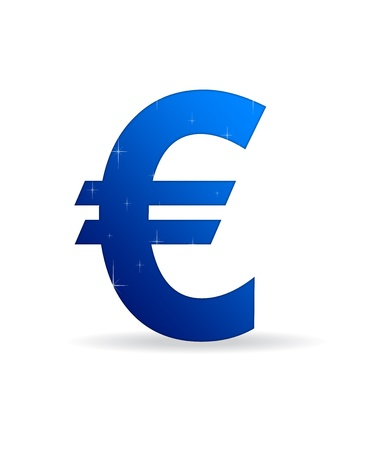 monies: High resolution blue euro sign standing with stars.