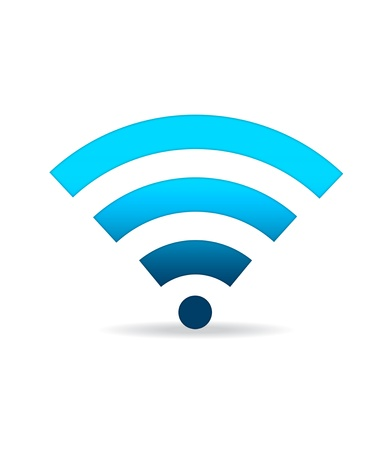 High resolution blue gradiant WIFI sign standing. photo