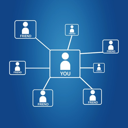 High resolution friends network graphic on blue background. photo