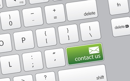 High resolutions graphic of a keyboard with a green contact us icons. Reklamní fotografie