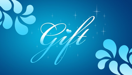 Hoge resolutie promotionele cadeaubon grahic met bloemen elementen op blauwe achtergrond.