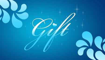 geschenkgutschein: Hohe Aufl�sung Werbe-Geschenk-Bescheinigung Grahic with floral Elements auf blauem Hintergrund.