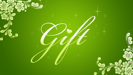 retail therapy: High resolution promotional gift certificate grahic with floral elements on green background.   Stock Photo