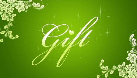 Hoge resolutie promotionele cadeaubon grahic met bloemen elementen op groene achtergrond.   Stockfoto