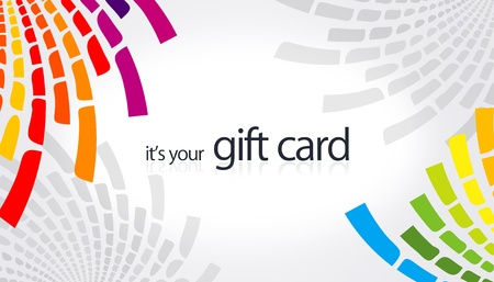 high resolution gift card with rainbow color elements. Stock Photo