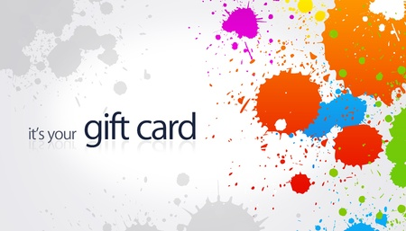 High resolution gift card with splash colored elements. Foto de archivo