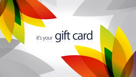 High resolution gift card with splash colored elements. photo
