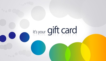 High resolution gift card with colored circular elements.