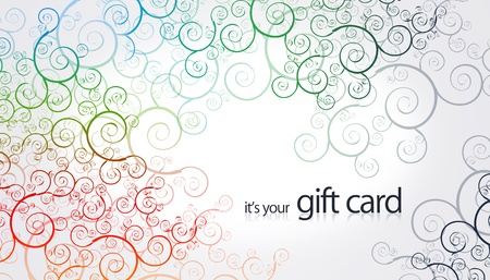 High resolution gift card with floral color elements. Фото со стока