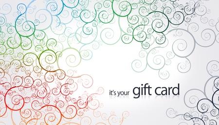 Hoge resolutie gift card met florale kleur elementen.