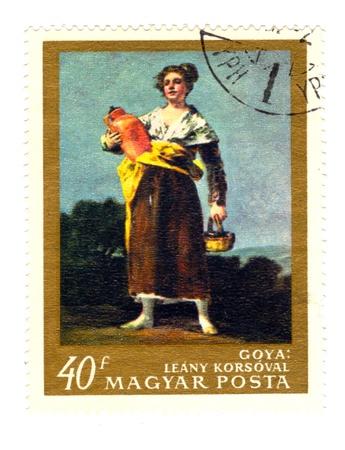 magyar posta: High resolution Hungarian Postal Stamp: Leanny Korsoval, Goya
