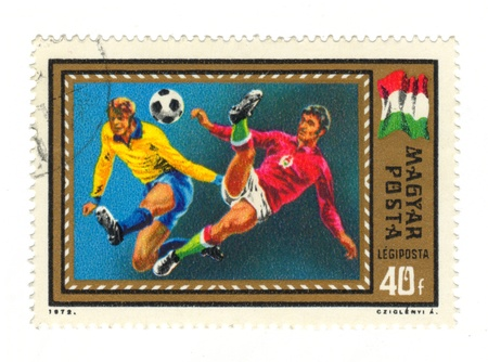 High resolution Hungarian Postal Stamp: Soccer Players Stock Photo - 9131031