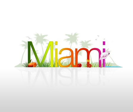 hotel resort: High Resolution graphic of the word Miami with tropical elements. Stock Photo