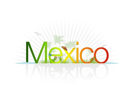 mexico beach: High Resolution graphic of the word Mexico with tropical elements.