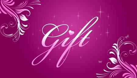 Hoge resolutie promotionele cadeaubon grahic met bloemen elementen op roze achtergrond.