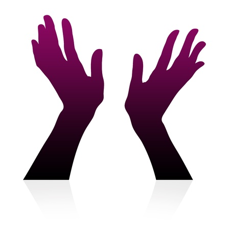 little finger: High resolution graphic of hands silhouettes on white background