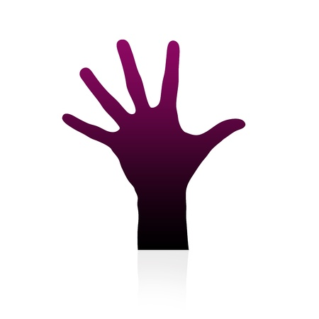 ring finger: High resolution graphic of a hand silhouette on white background