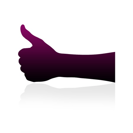 accomplish: High resolution graphic of a hand with thumbs up silhouette on white background. Stock Photo