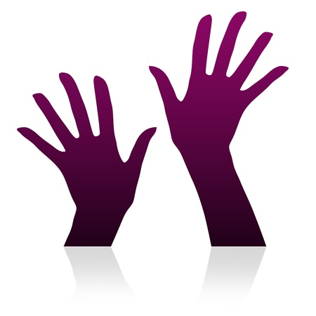 little finger: High resolution graphic of hands silhouette on white background. Stock Photo