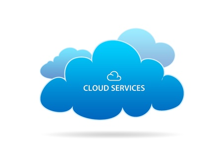 connection connections: High resolution graphic of several different clouds with the words cloud services on white background. Stock Photo