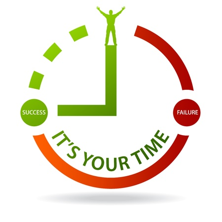 r�alisation: High resolution graphic of a clock with the words its your time on white background