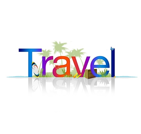 travel luggage: High Resolution graphic of the word Travel on white background with reflection. Stock Photo