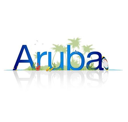 sandal tree: Gr�fico alta resoluci�n de la palabra de Aruba sobre fondo blanco con reflexi�n.
